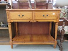 Modern pine sideboard with 2 drawers and shelf under