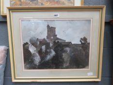 Watercolour: village scene with church