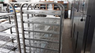 Stainless steel mobile bakers rack with trays, 46cm x 60cm