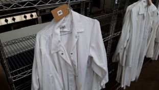 5 white bakers jackets, size XL