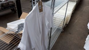 2 short sleeved white bakers jackets