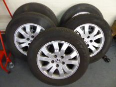 Set of five Honda 16'' alloy wheels with tyres