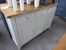 Grey painted oak top medium sideboard with 3 drawers and 3 cupboards, 130cm