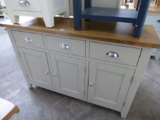 Grey painted and oak top medium sideboard with 3 drawers and 3 cupboards, 130cm wide