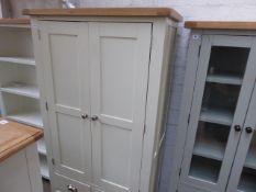 Cream painted and oak 2 door kitchen larder unit, 100cm wide