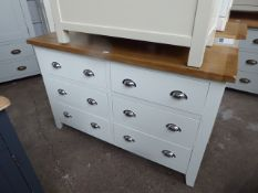 White painted oak top chest of 6 drawers, 125cm wide