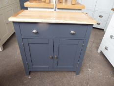 Blue painted oak top sideboard with single drawer and double door cupboard, 75cm wide