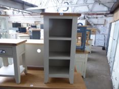 Grey painted oak top small bookcase, 45cm wide