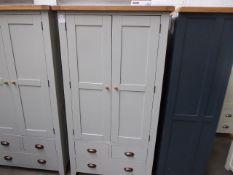 Grey painted and oak 2 door kitchen larder unit, 100cm wide
