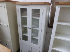 White painted and oak 2 door glazed display cabinet with cupboard under, 85cm wide