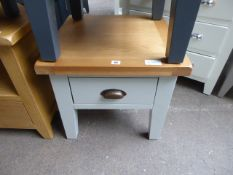 Blue painted oak top lamp table with single drawer
