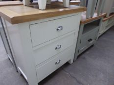 White painted oak top chest of 3 drawers, 75cm wide
