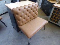 Brown leather effect studded back 2 seater bench seat, 90cm wide