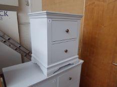 Grey painted bedside 2 drawer unit, 50cm wide