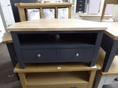 Blue painted oak top corner TV unit with single shelf and drawer, 90cm wide