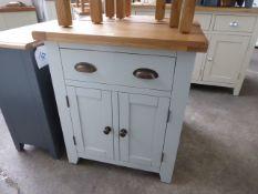 Grey painted oak top small sideboard, 70cm