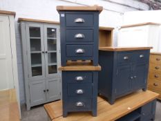 2 blue painted oak top 3 drawer bedside units, 47cm wide