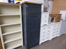 Blue painted oak top single door kitchen larder, 70cm wide