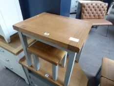 Grey painted and oak top nest of 2 tables