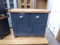 Blue painted oak top medium size sideboard with 2 drawers and 2 cupboards, 100cm wide