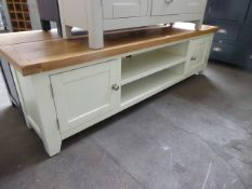 Cream painted and oak top large TV unit with 2 shelves and 2 cupboards, 180cm wide