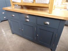 Blue painted and oak top medium sideboard with 3 drawers and 3 cupboards, 140cm