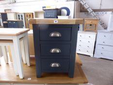 Blue painted oak top 3 drawer bedside unit, 48cm wide