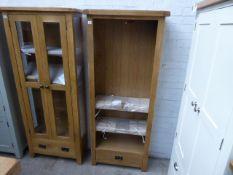 Oak open front bookshelf with single drawer, 75cm wide