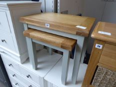 Grey painted oak top nest of 2 tables