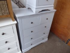 Grey painted 2 over 3 drawer chest, 90cm wide
