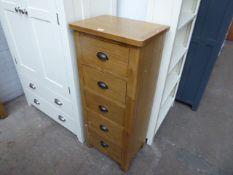 Oak tallboy with 5 drawers, 50cm wide