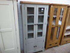 Grey painted oak top glazed 2 door display cabinet with double cupboard under, 85cm wide