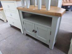 Grey painted oak top corner TV unit with shelf and double door cupboard, 80cm wide
