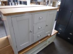 Grey painted and oak top medium sideboard with 3 drawers and 2 cupboards, 115cm wide
