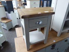 Grey painted oak top single drawer bedside unit, 40cm wide