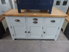 Grey painted and oak top sideboard with 3 drawers and 3 cupboards, 140cm wide