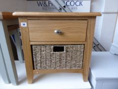 Oak lamp table with single drawer and baskets, 50cm wide