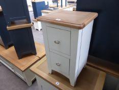 White painted oak top 2 drawer bedside cabinet, 35cm wide