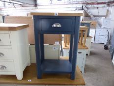 Blue painted oak top telephone table, 50cm wide
