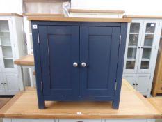 Blue painted oak top double door cupboard, 75cm wide
