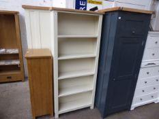 Cream painted oak top open front bookcase, 80cm wide