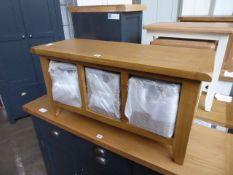 Oak bench storage seat with 3 baskets, 90cm wide