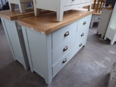 Blue painted oak top chest of 6 drawers, 130cm wide