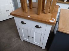White painted oak top small sideboard, 70cm