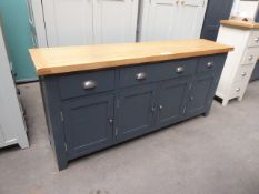 Blue painted and oak top large sideboard with 3 drawers and 4 cupboards, 175cm wide