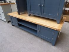 Blue painted and oak top large TV unit with 2 shelves and 2 cupboards, 180cm wide