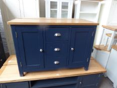 Blue painted and oak top medium sideboard with 3 drawers and 2 cupboards, 115cm wide