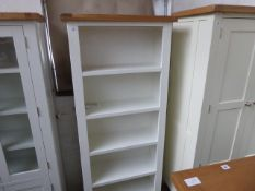 White painted and oak open front bookcase, 80cm wide