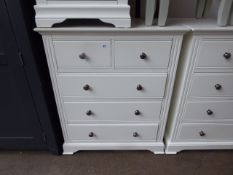 White painted 2 over 3 drawer chest, 80cm