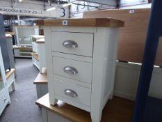 Cream painted oak top 3 drawer bedside unit, 48cm wide